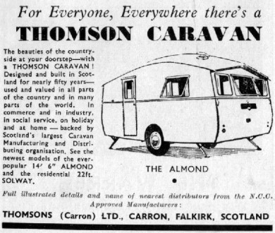 1956 Almond Advert from the 1956 Caravan Manual